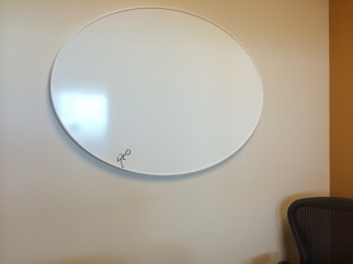 Someone found a use for the new round white boards-