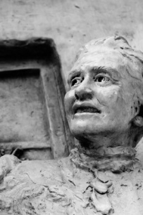 One of the creepiest and most fascinating sculptures I have found in town- especially in b&w